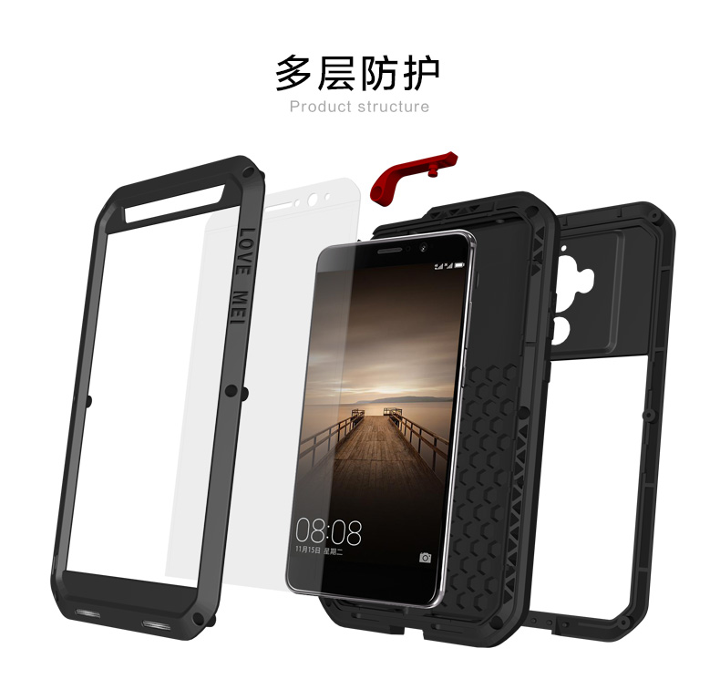 uk availability 90aba 3834b US $26.38 |LOVE MEI Huawei Mate 9 Case Metal Armor Heavy Duty Life  Waterproof Shockproof Silicone Aluminum Cover Cases + Tempered Glass on ...