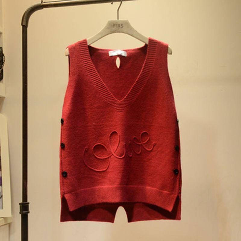 2019 Spring Autumn Female Solid V-Neck Vest Women's Knitted Tank Tops Femme Loose Sweater Pullover Korean Sleeveless Vest A19 4