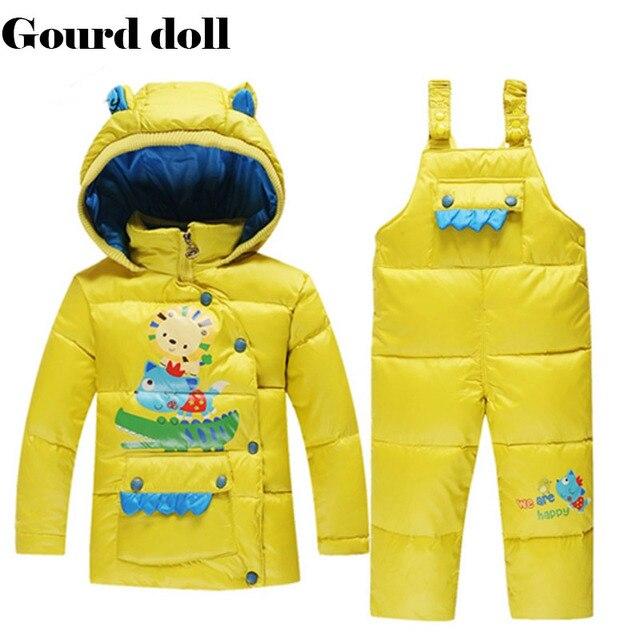 Детские мальчики / девочки зима утка вниз одежда комплект мультфильм парка одежды малыша розничная, зимний комбинезон ребенка детский зимний комбинезон верхняя одежда и пальто