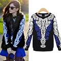 2016 New Winter Knitted Cotton Sweaters Pullovers Female Slim Womens Totem Printing Fashion Black One Size