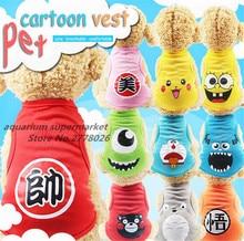 цена на 1 piece 11 cartoon styles small dog clothes dog shirt T-shirt breathable pet vest pet dog supplies XS/S/M/L/XL/XXL