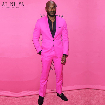 New Arrival Shawl Lapel Groom Tuxedos Hot Pink Men Wedding Suits Party Prom Suit One Button (Jacket+Pants )