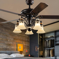 Vintage ceiling fan with light Living room Kitchen Dining room roof fan with remote controller 42 Inch industrial ceiling fan