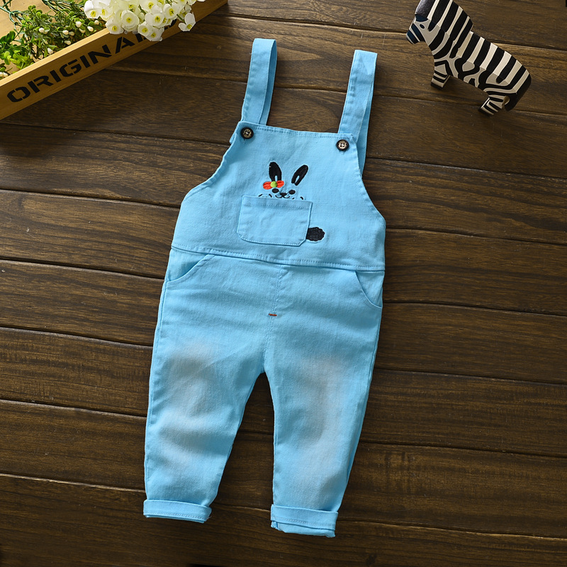 New Cute 2016 Rabbit Baby Boy Girls Bib Pants Overalls Bear Print Harem Pants Long Trousers Free Shipping