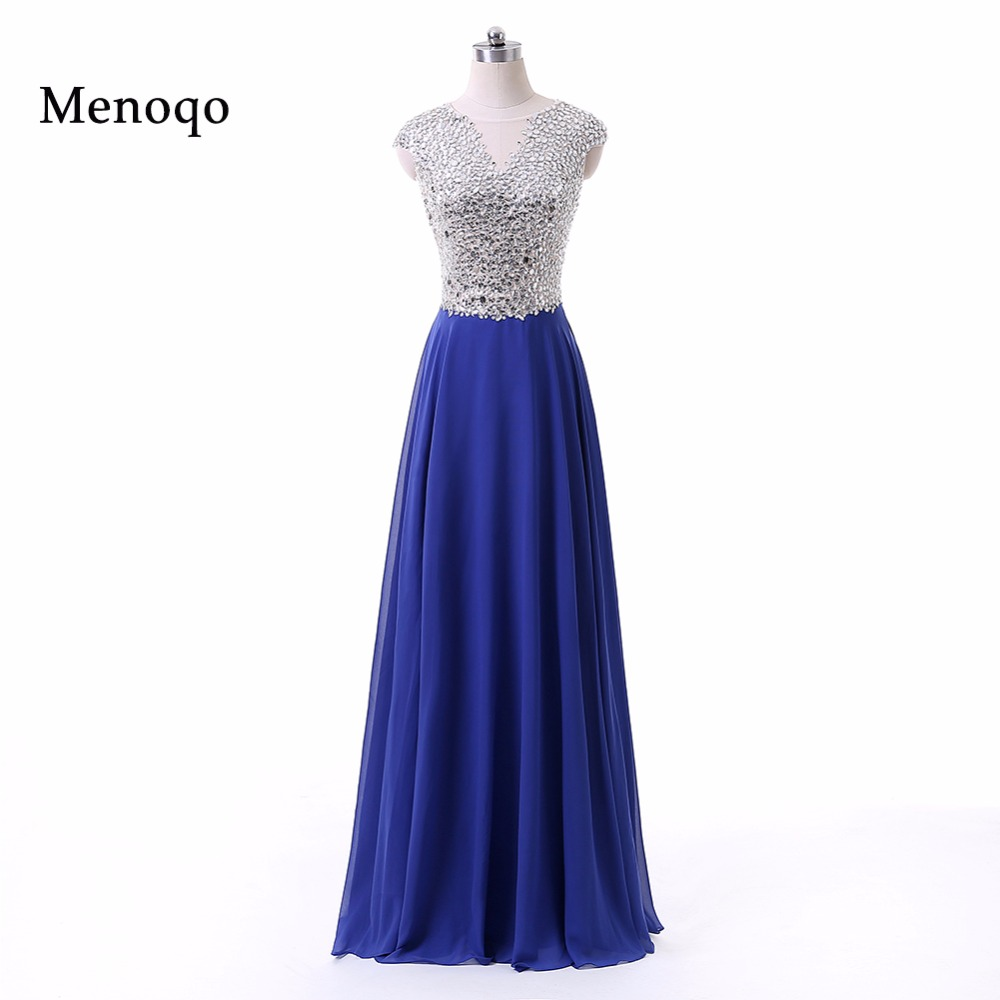Royal Blue Shining   Prom     Dresses   2018 A line Cap sleeve Beaded Chiffon Side Split Party   Dresses   For Graduation