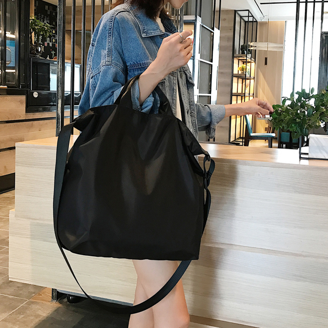 نايلون حقائب النساء الرجال حقيبة تسوق s قابلة لإعادة الاستخدام حقيبة تسوق اللون أسود أزرق