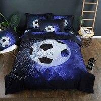 Lannidaa 3D Printed World Soccer Bedding Set Include Bedspread Pillowcase Blue Football Pattern 2/3PCS Duvet Cover King Size