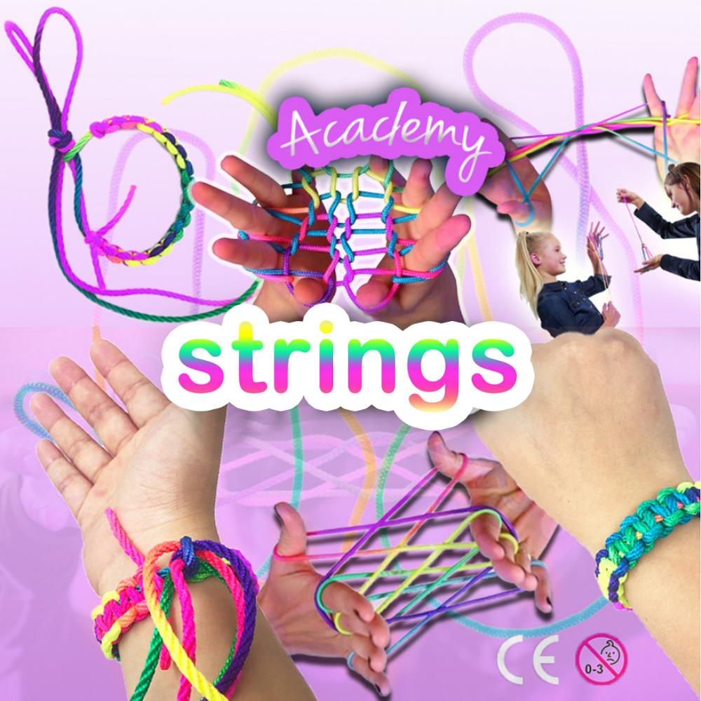 Besegad Kids 4PCS 165cm/64.96inch Rainbow Coloured Thread Toy Rope Finger String Puzzle Finger Rope Game Thread Educational Toy