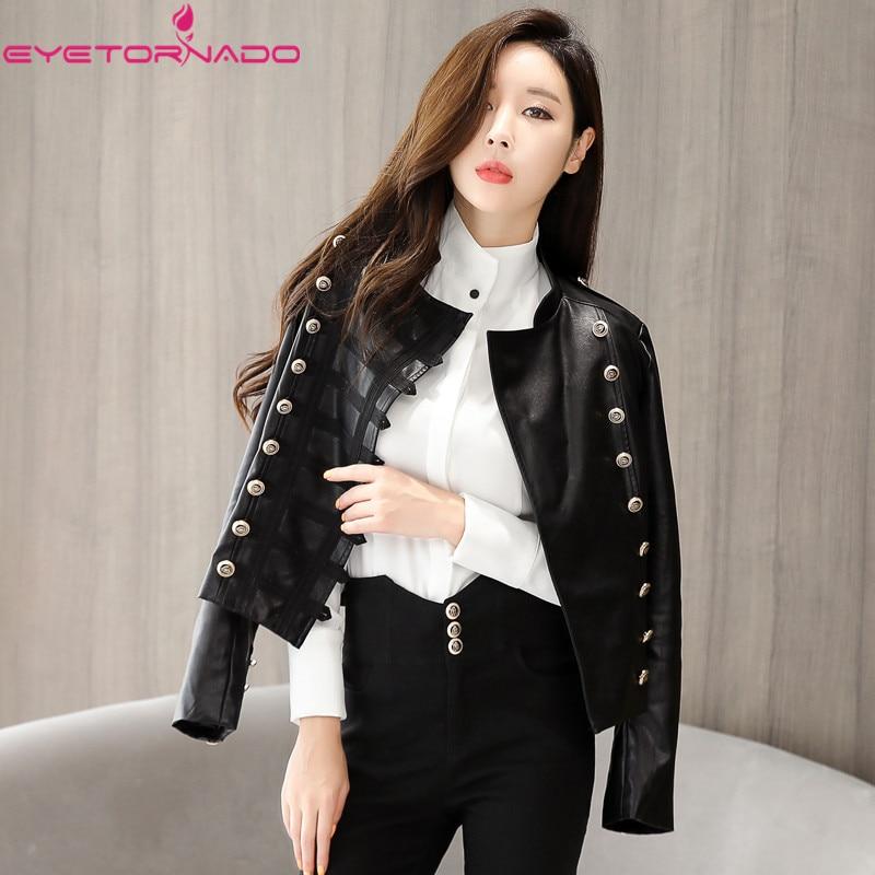 2019 New Fashion Women Motorcycle Faux Sheep   Leather   Jackets Long Sleeve Autumn Winter Short Punk Biker Streetwear Black Coat