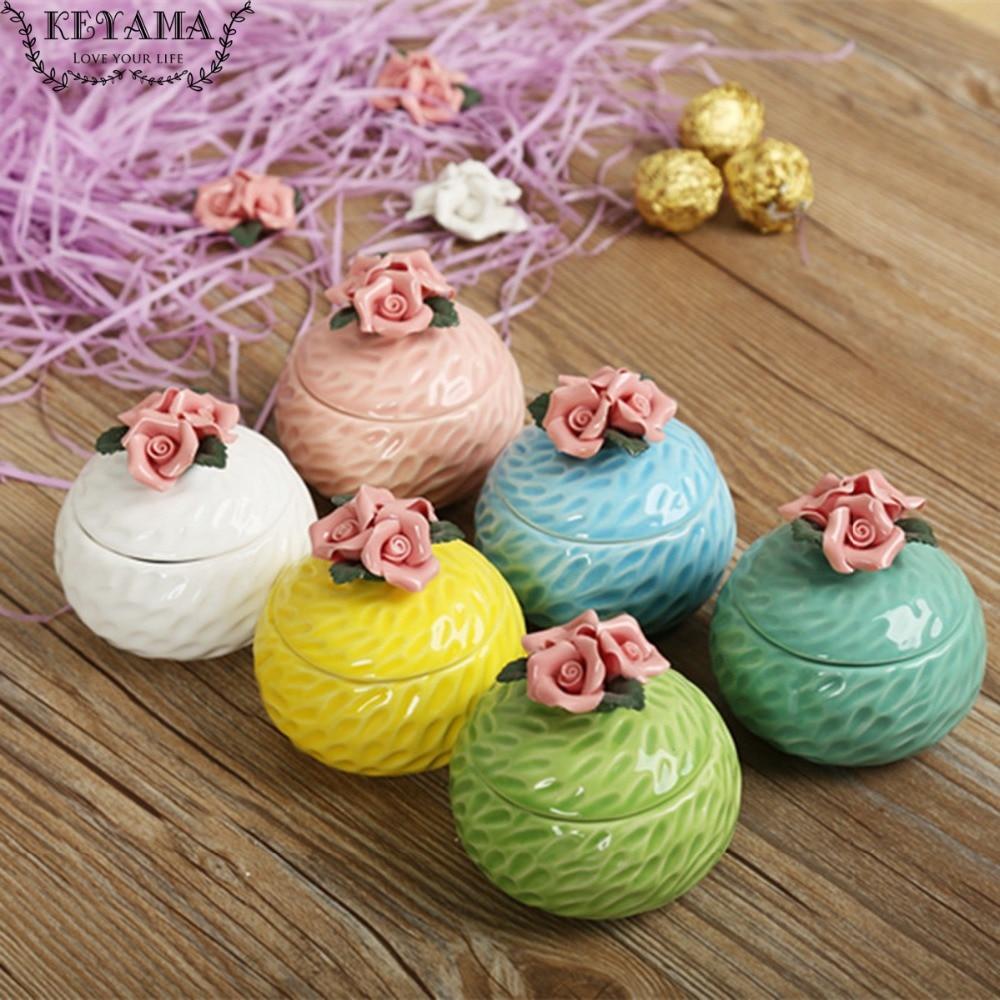 1 st KEYAMA Multi-färgad glasyr handgjorda snidade blommor keramiska - Hemlagring och organisation - Foto 1