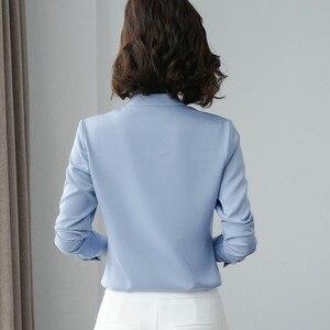 Image 3 - Wysokiej jakości moda damska koszula nowa jesienna V Neck z długim rękawem Slim Business bluzki biurowa, damska jasnozielona bluzki do pracy