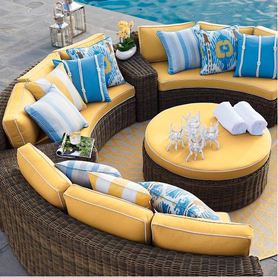 Charmant Popular Wicker Outdoor Furniture Half Round Sofa Set Curved Modular Seating
