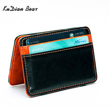 KUDIAN BEAR Korean Magic Money Clips Wallet Leather Men Purse Casual Credit Card Organizer -- BID015 PM49(China)
