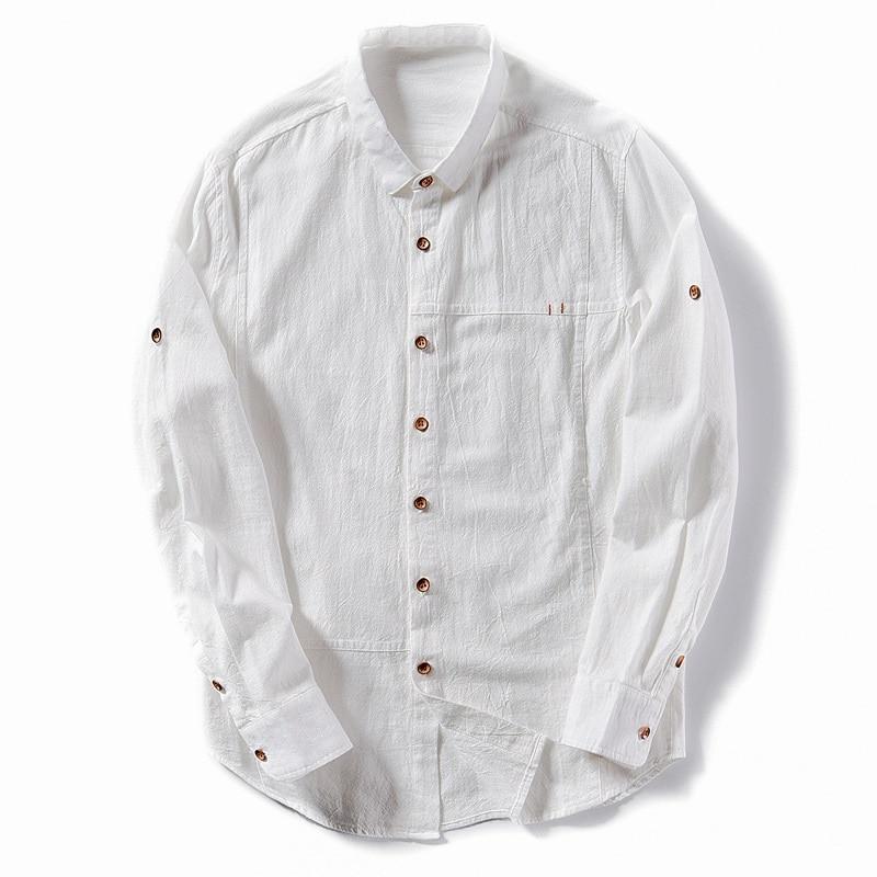 1dd3471b0f0e0 2019 Cotton Linen Shirt Men New Turn Down Collar Casual Male Shirt ...