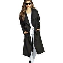 Fashion Long Trench Coat For Women 2016 Autumn Winter Wool Coat Cashmere Long Coat Female Outerwear Women's Jacket Overcoat Plus