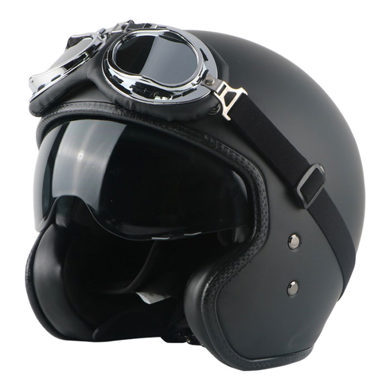 Vintage helmet Black fiber glass Open face 3/4 Motorcycle motorcross helmet Casco Jet Vintage Retro helmet inner visor simple style vintage full face helmet custom made motorcycle helmet retro motor helmet