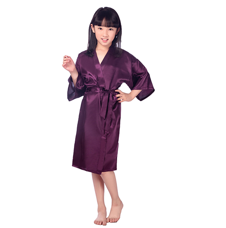 Baby Girl Silk Satin Robe Solid Night Robe Fashion Bathrobe Children Bridesmaid Robe. ...