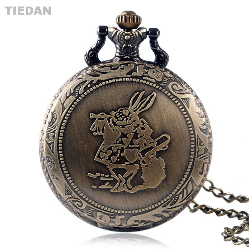 TIEDAN Hot Sale Alice Rabbit Design Retro Antique Quartz Pocket Watch with Long Pendant Chain Necklace Fob Watch for Unisex Gift