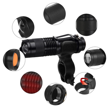 Waterproof Bicycle Front LED Light with ZOOM and flashlight 10