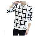 Frete grátis 2017 NEW Arrival Mans xadrez Camisetas de manga comprida camisas dos homens t de algodão casuais T-shirt Masculina Plus Size M-5XL 25z