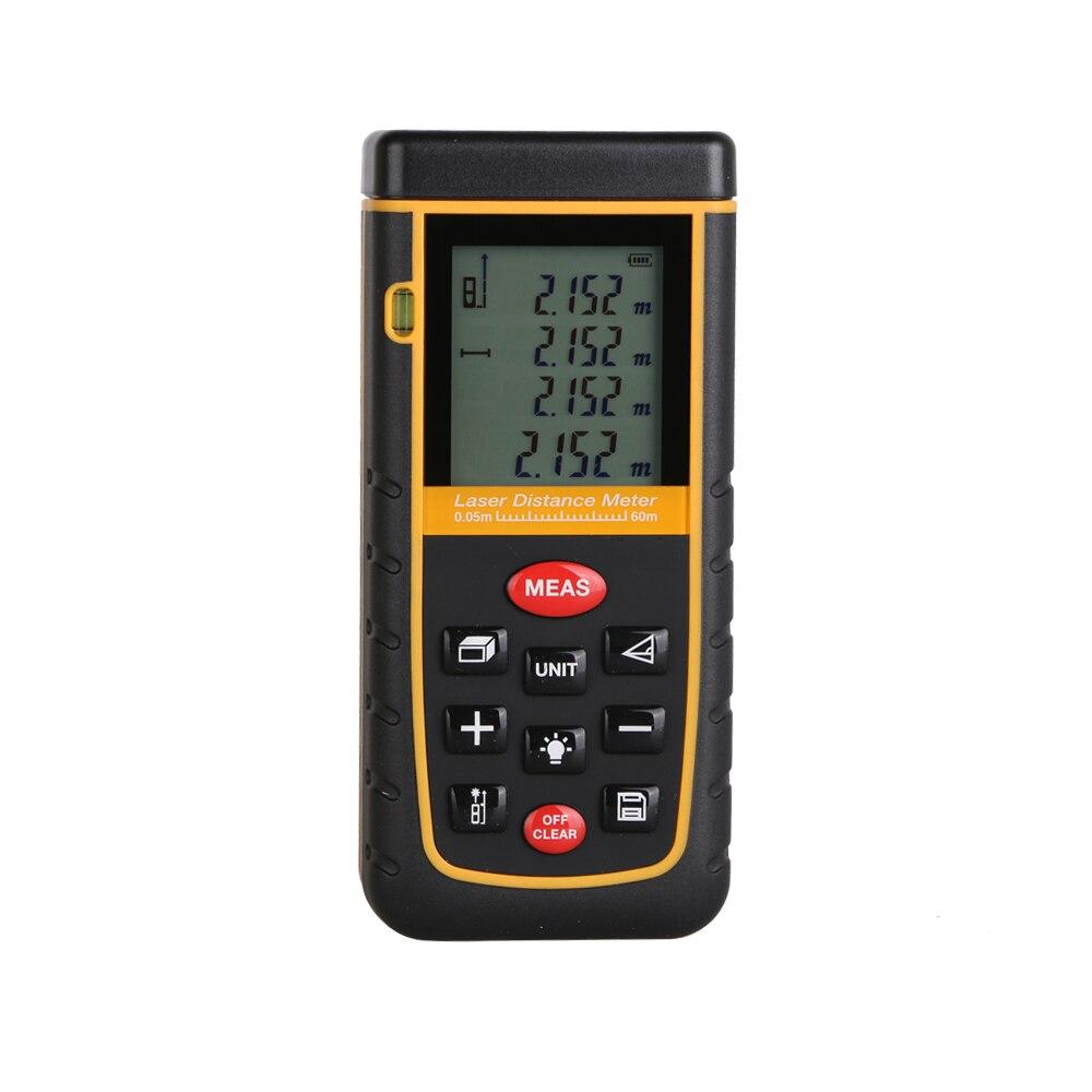 Цифровой лазерный дальномер больше инструмент пузырьковый уровень дальномер Клейкие ленты измерить 60 м области/объем угол тестер