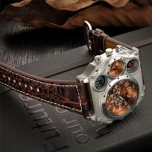 Image 5 - Oulm スポーツスーパービッグスタイルクォーツ時計男性デュアルタイムゾーン装飾温度計コンパス PU 男性の腕時計