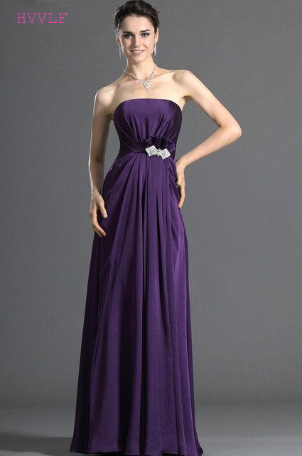 Purple 2019 Cheap   Bridesmaid     Dresses   Under 50 A-line Strapless Chiffon Flowers Backless Long Wedding Party   Dresses