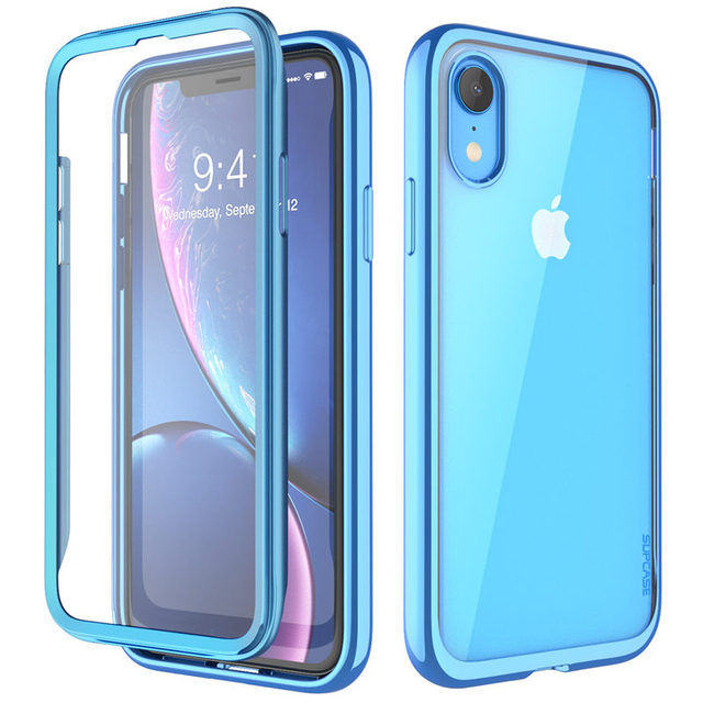 For iPhone XR 6.1 inch SUPCASE Case UB Electro Full Body Clear Plated Glitter Slim Hybrid Cover with Built in Screen Protector