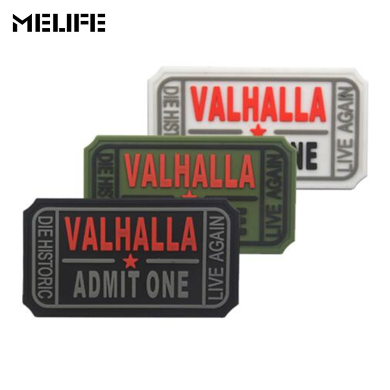 Hunting accessories VALHALLA ADMIT ONE 3D PVC Patch Rubber Patches Military Tactical Armband badge applique For Clothing hat bag