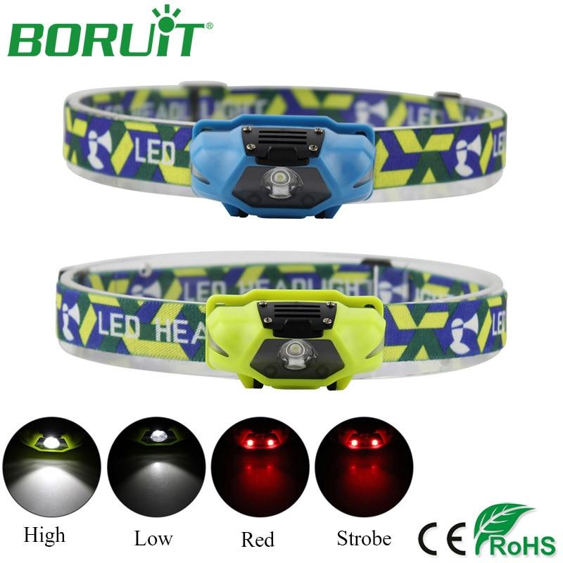 BORUiT Mini LED forlygte lommelygte 4 tilstande bærbar taktisk camping jagt forlygte lantern cykling løbende hoved lommelygte lys