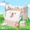 8pcs baby bedding set ,cotton embroidered crib bedding set with quilt ,infant nursery set,baby bedding set bumper