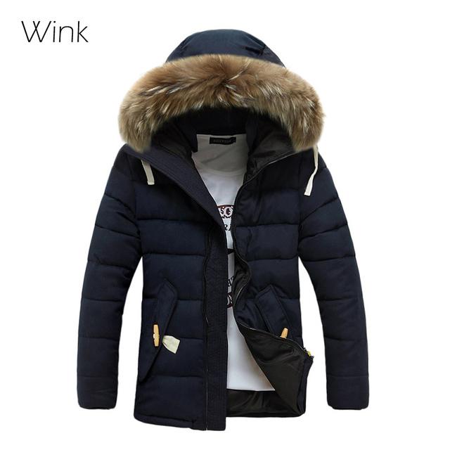 Hombres Parka gruesa chaqueta de caballero de marca diseño chaqueta de invierno de pieles Collar Outwear informal encapuchados por la moda abrigo nieve a prueba de viento 404