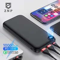 ZNP 10000mAh Power Bank para iPhone Samsung Huawei tipo C PD carga rápida + carga rápida 3,0 batería externa USB Powerbank