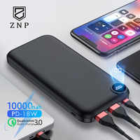 ZNP 10000mAh Power Bank Für iPhone Samsung Huawei Typ C PD Schnelle Lade + Quick Charge 3,0 USB Power externe Batterie