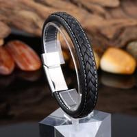Nieuwe Zwart Lederen Armband Femme Rvs Bangle Unisex Mannelijke Vrouwelijke Wrap Armbanden & Bangles Vintage Sieraden