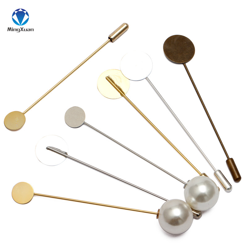 MINGXUAN 10pcs 10/15mm Round Blank Fashion Copper Flat Pad 76mm Long Brooch Pin Base Settings Jewelry Findings Components