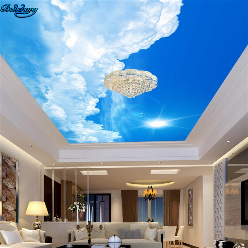 Beibehang Large Custom Wallpaper Beautiful Atmosphere Blue Sky White Clouds Sunshine Ceiling Roof Painting Home Decoration Aliexpress