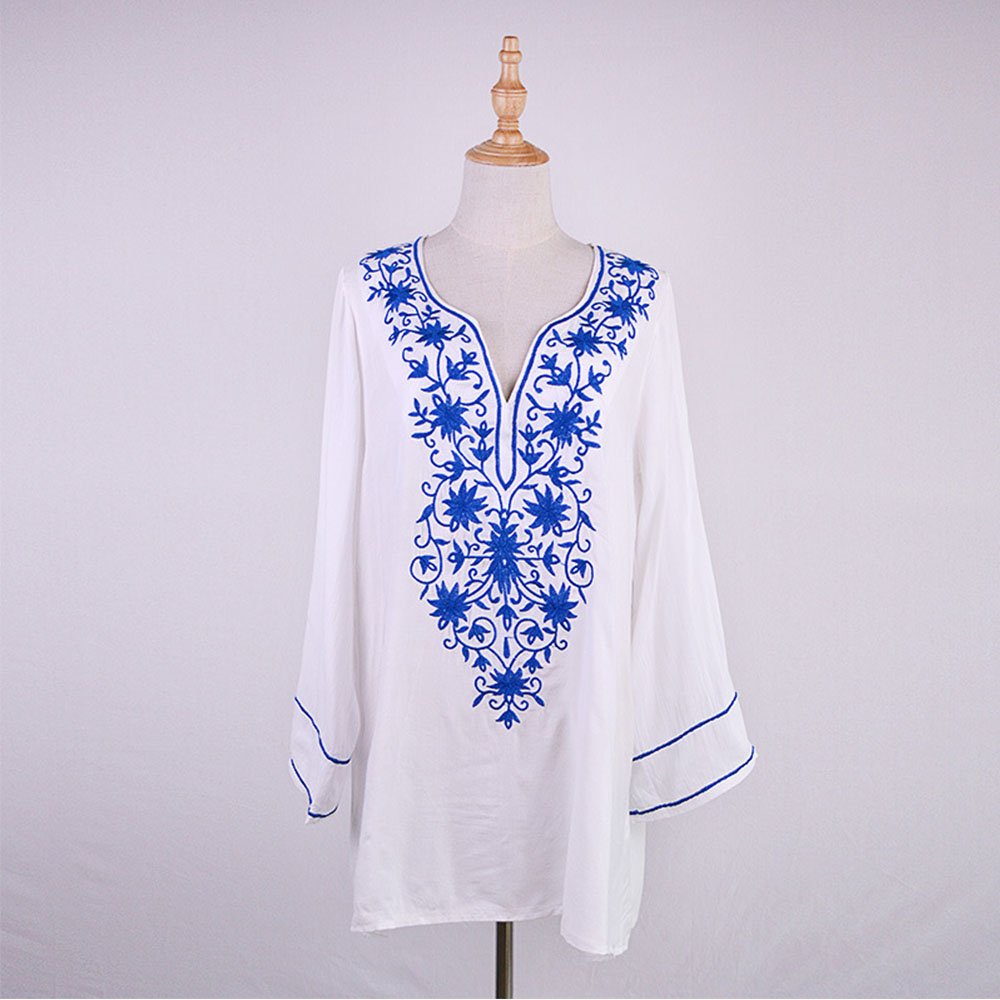 30pcs/lot 2019 New Arrival Beach Cover up Women Sexy Embroidery Vintage Ladies Beach Dress Beach Wear