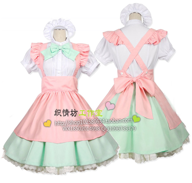 8cb02457c5 2015 New Cute Kawaii Maid Cosplay Costume Housewife Women s Lolita Dress  Vintage Ball Gown for Halloween Party