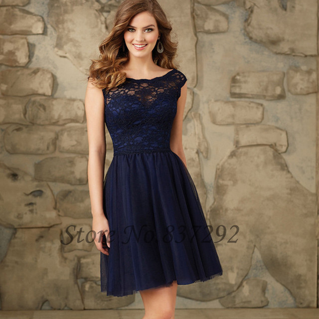 Robe demoiselle D honneur Navy Blue Short Bridesmaid Dresses Lace Tulle V  Back Wedding Party Dress Cap Sleeve 2016 581ec4d012aa