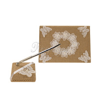 2Pcs Set Burlap Hessian Lace Guest Book Pen Ring Pillow Flower Basket Garter Decoration Wedding Set