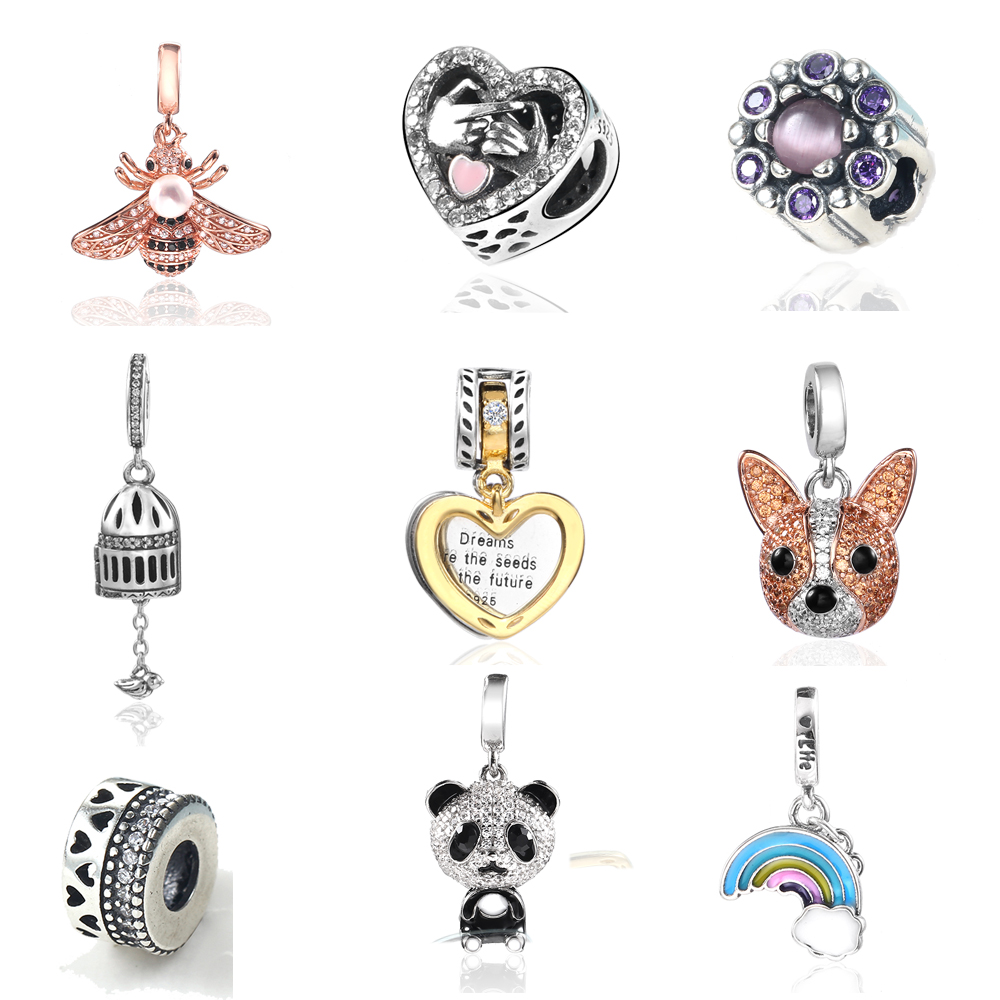 Silver Charms Fits Pandora Bracelets Original 925 Sterling Silver Bead 2019 New Charm Dropshipping Jewelry Making Christmas Gift 2015 new spring 925 sterling silver pumpkin charm with gold and cz bead fits pandora bracelets in stock 1pc lot b520