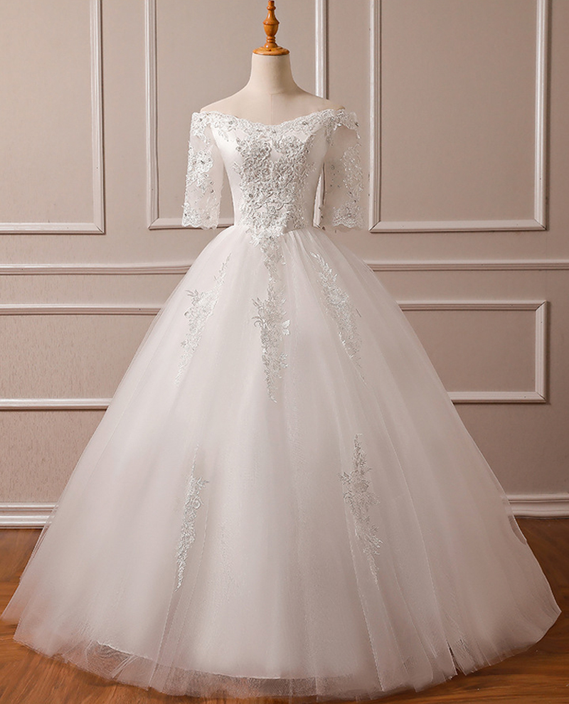 Real Pictures Luxury Wedding Dresses 2019 With Beads Embroidery Lace Boat Neck Off The Shoulder Bridal Gown Custom Sizes