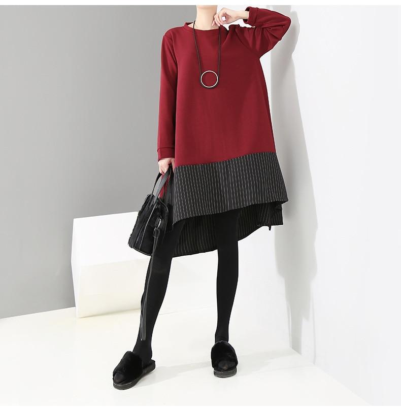 HTB1uZRuXOLrK1Rjy1zdq6ynnpXa1 - [EAM] 2019 New Spring  Winter Round Neck Long Sleeve Red Striped Irregular Printed Stitch Big Hemline Dress Women Fashion JK557