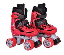 High qaulity!Roller Skates Genuine Leather With Led Double Line Skates Child 4 Wheels Two line Roller Skating Shoes