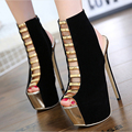 2017 New Spring Sexy Cut-outs Gladiator Shoes Woman Heel Slingbacks Thin High Heels Platform Open Toe Office Ladies Party Shoes