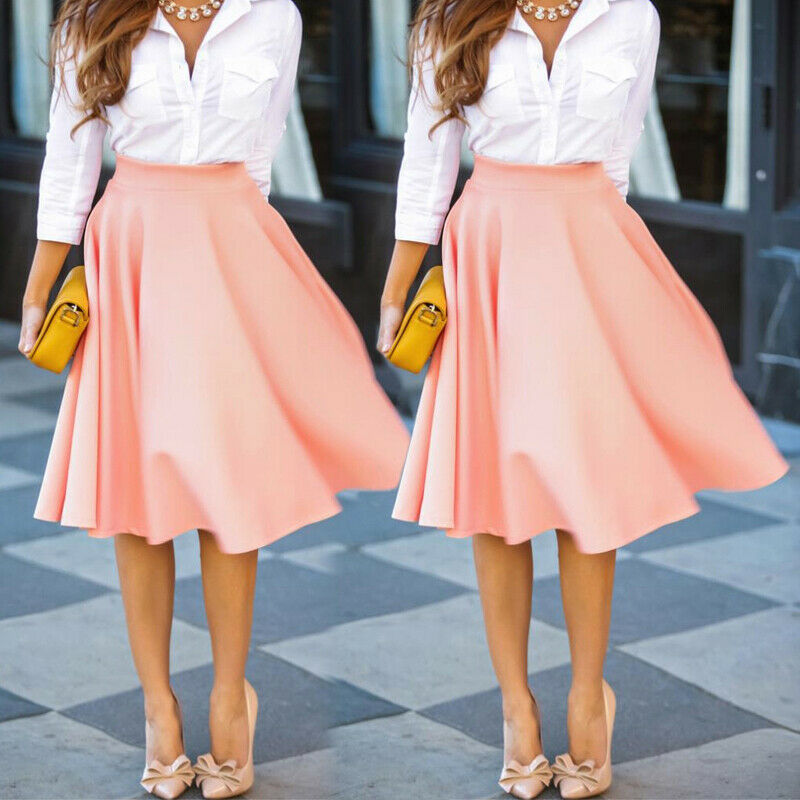 New Fashion Trends Womens Slim Thin High Waist Pleated Skirts Ladies Casual Mini