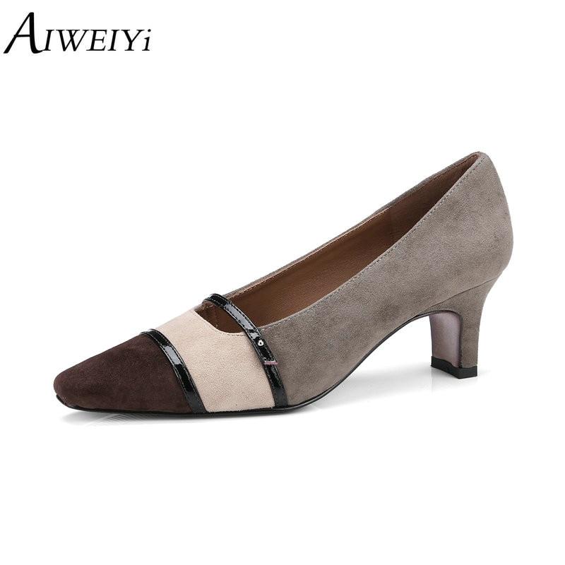 AIWEIYi zapatos de cuero genuino de múltiples colores cuadrados tacones altos de calidad superior de punta cuadrada deslizamiento en zapatos de tacón alto Mujer nupcial zapatos-in Zapatos de tacón de mujer from zapatos    1