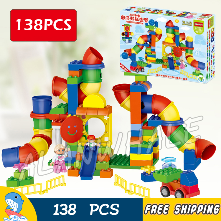 138pcs My First Pipeline Amusement Park Piping Castle Slide Tunnel Model Building Blocks Toy Brick Compatible With Lego Duplo