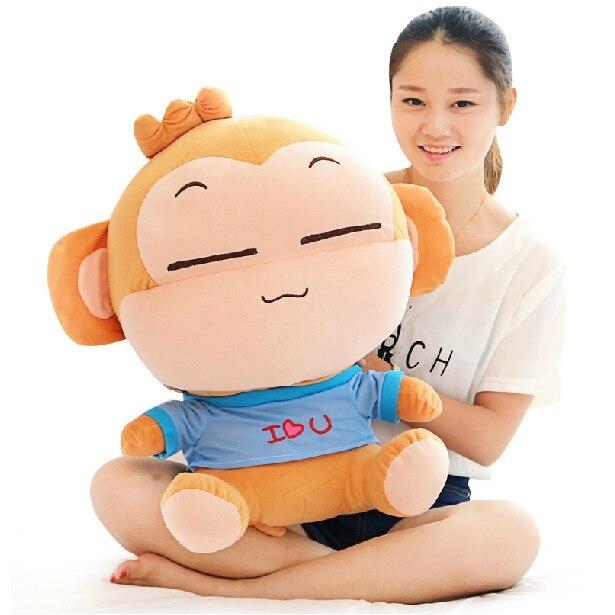 Joli singe en peluche grand 85 cm singe doux calin oreiller, cadeau d'anniversaire F040